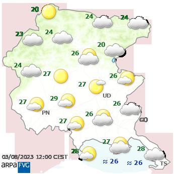 meteo friuli venezia giulia temperature