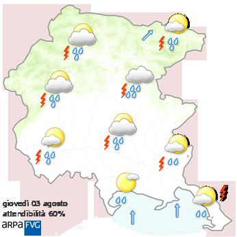 meteo friuli venezia giulia Oggi